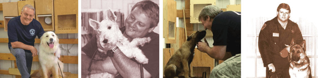 Randy Hare, professional dog trainer, at various points in his K9 training career